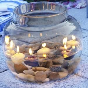 оригинальная емкость со свечками внутри